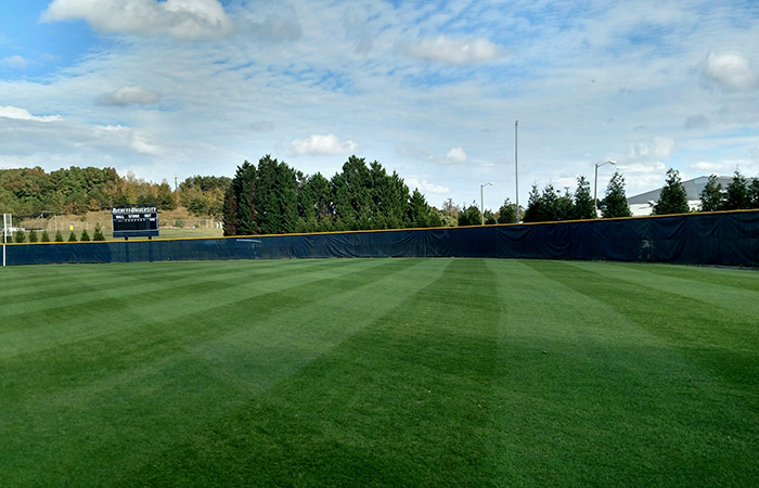 After mowing baseball outfield at Averett University.